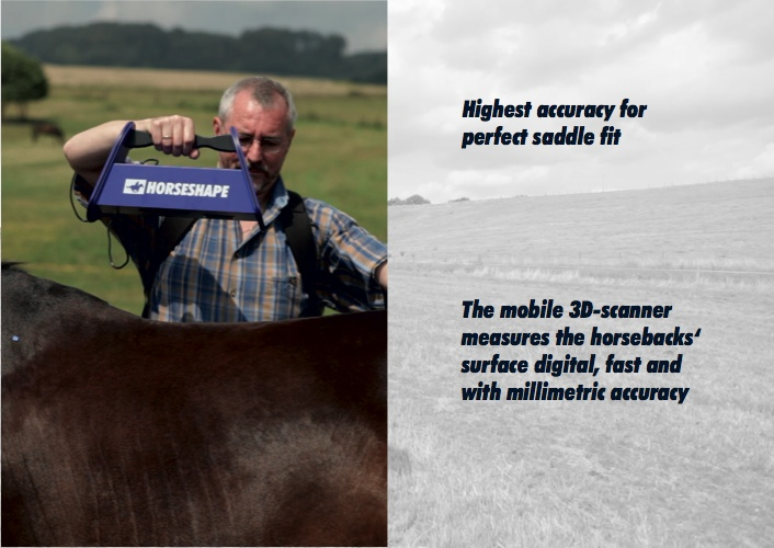 Highest accuracy for perfect saddle fit: The mobile 3D-scanner measures the horsebacks' surface digital, fast and with millimetric accuracy